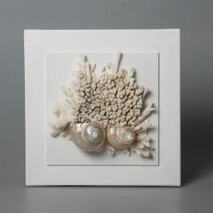 Quadro con coralli e conchiglie