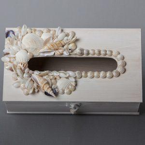 Porta kleenex in legno con conchiglie