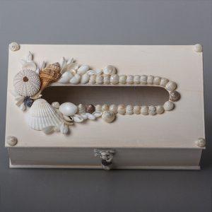 Scatola porta kleenex in legno con conchiglie