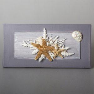 Quadro con stella marina e coralli