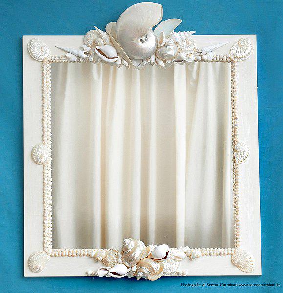 Specchio con nautilus e conchiglie madreperla cristina - Specchio con conchiglie ...