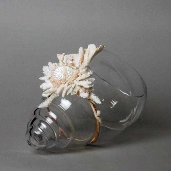 Vaso conchiglia con coralli