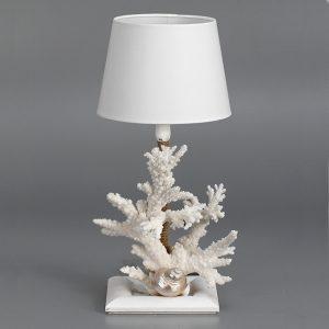 Lampada con corallo bianco e conchiglia