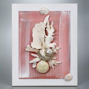 Quadro chiocciola madreperla e corallo