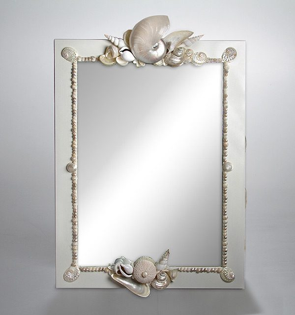 Specchio con Nautilus e conchiglie madreperla